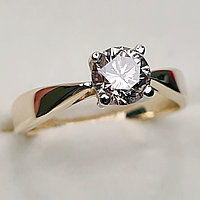 Золотое кольцо с бриллиантом 0,83Сt VVS2/L Ex-Cut