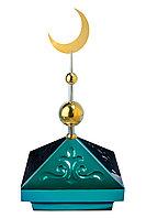 Навершие. Купол на мазар. Зеленый с орнаментом и золотым плоским полумесяцем d-230 с 2-мя шарами