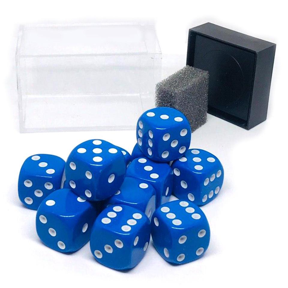 """Набор костей игральных """"Простые"""", D6, 16 мм, 12 шт, цвет: синий"""