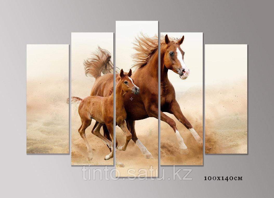"""Модульная картина """"Лошадь с жеребенком"""""""