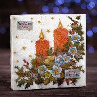 Новогодние салфетки бумажные Fresco 'Свечи', 2 слоя, 33*33 см, 20 листов