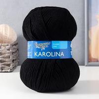 Пряжа Karolina (Каролина) 100 акрил 438м/100гр черный (1) (комплект из 3 шт.)