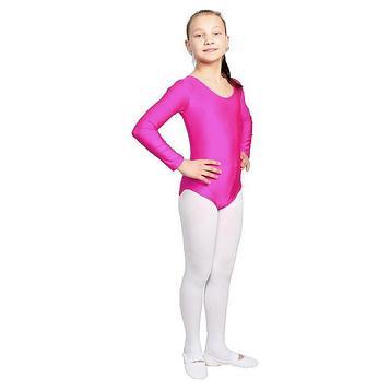 Купальник гимнастический, с длинным рукавом, размер 34, цвет фуксия