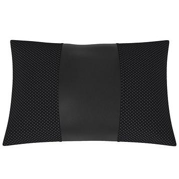 Подушка автомобильная, поясничный подпор, экокожа, жаккард, чёрная, синяя точка