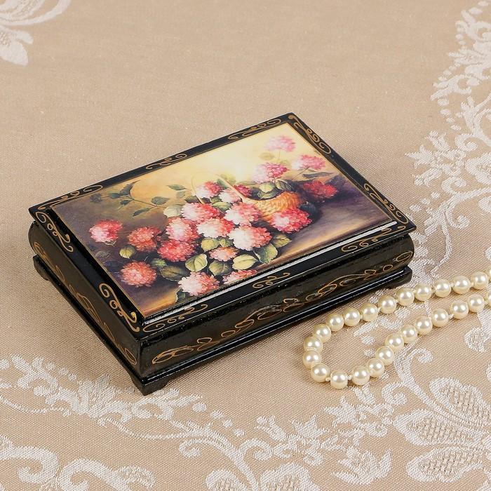 Шкатулка «Розовые цветы в корзине», 10×14 см, лаковая миниатюра