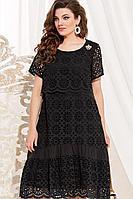 Женское летнее хлопковое черное нарядное большого размера платье Vittoria Queen 12233/1 черный 50р.