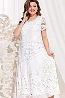 Женское летнее белое нарядное большого размера платье Vittoria Queen 13783 молочный 50р.