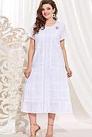 Женское летнее хлопковое белое нарядное большого размера платье Vittoria Queen 14083/2 белый 52р.