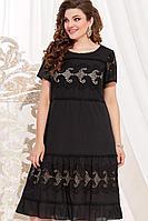 Женское летнее хлопковое черное нарядное большого размера платье Vittoria Queen 12763/1 черный-песок 50р.