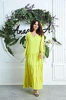 Женское летнее желтое большого размера платье Anastasia 626 лимон 50р.