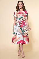 Женское летнее льняное большого размера платье DaLi 2444 коралл 48р.