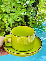 Кофейная чашка и блюдце из костяного фарфора