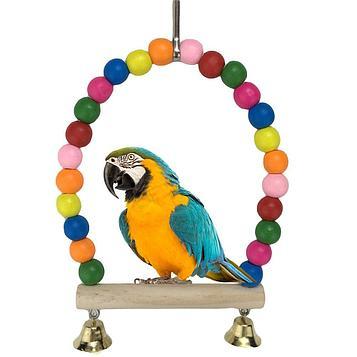 Качеля для попугая деревянная с бусами