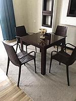 Набор садовой мебели кресла, стол пластиковые под ротанг, цвет коричневый