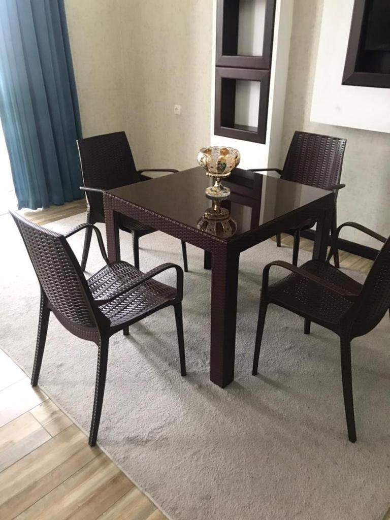 Набор садовой мебели кресла, стол пластиковые под ротанг, цвет коричневый - фото 1