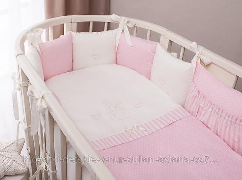 Комплект в кроватку Perina Неженка Oval 7 предметов НО7.3-125х75 Розовый - фото 1