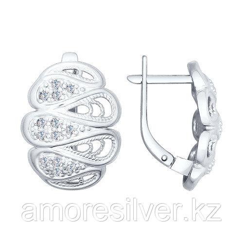 Серьги SOKOLOV серебро с родием, фианит, ажурное 94022416