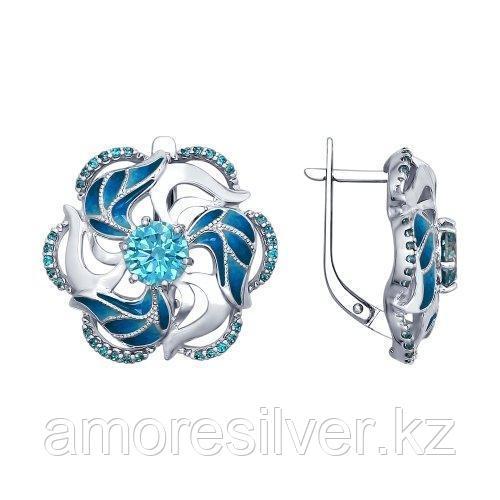 Серьги SOKOLOV серебро с родием, фианит, флора 94022439