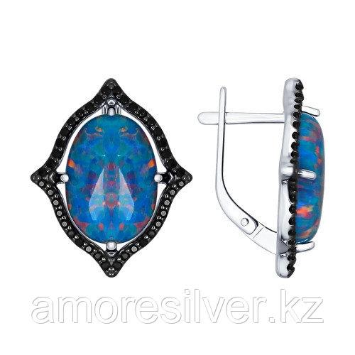 Серьги SOKOLOV серебро с родием, фианит 83020007
