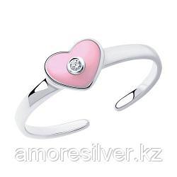 Кольцо SOKOLOV серебро с родием, эмаль фианит , love 94011760
