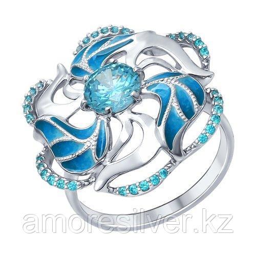 Кольцо SOKOLOV серебро с родием, фианит, флора 94012328