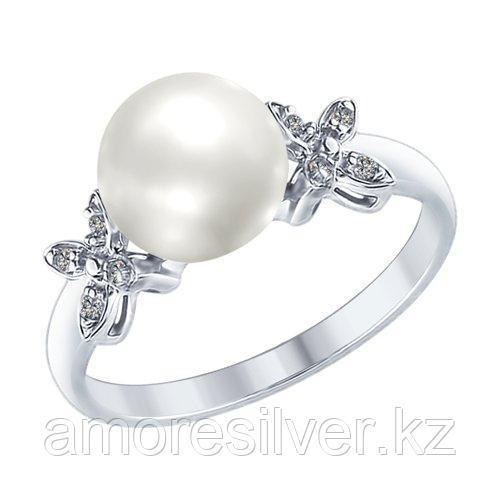 Кольцо SOKOLOV серебро с родием, жемчуг фианит 94012589