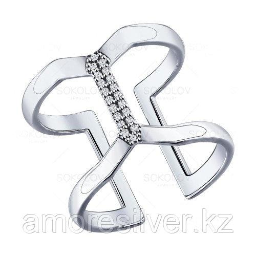Кольцо SOKOLOV серебро с родием, фианит, дорожка 94011550