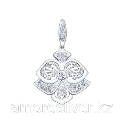 Подвеска SOKOLOV серебро с родием, фианит, флора 94031834