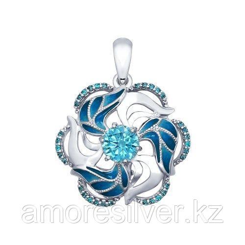 Подвеска SOKOLOV серебро с родием, фианит, цветы 94031841