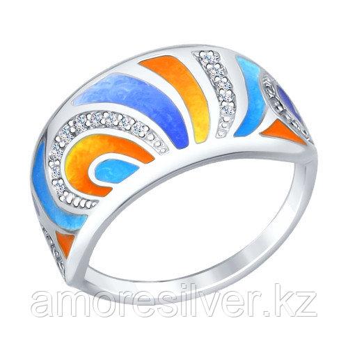 Кольцо SOKOLOV серебро с родием, фианит, абстракция 94012229