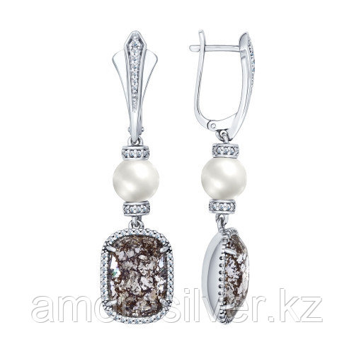 Серьги SOKOLOV серебро с родием, жемчуг фианит, квадрат 94022147