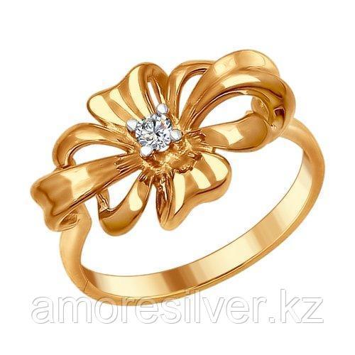 Кольцо SOKOLOV серебро с позолотой, фианит, бантик 93010676