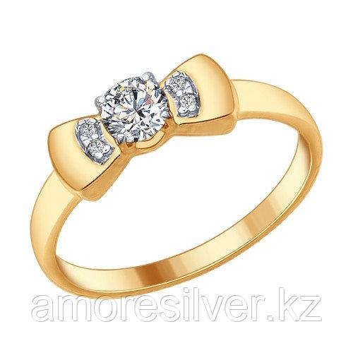 Кольцо SOKOLOV серебро с позолотой, фианит, бантик 93010619