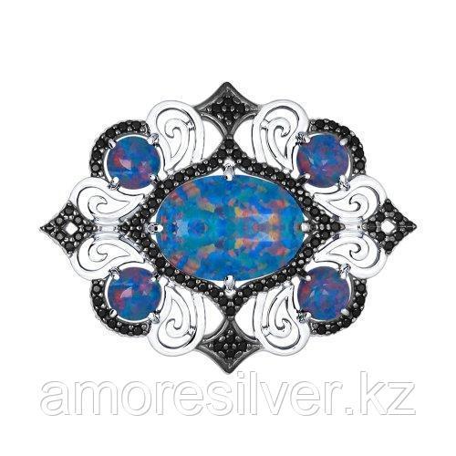 Брошь SOKOLOV серебро с родием, фианит, геометрия 83040001