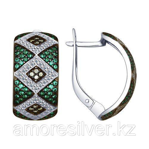 Серьги SOKOLOV серебро с родием, фианит, многокаменка 94022550