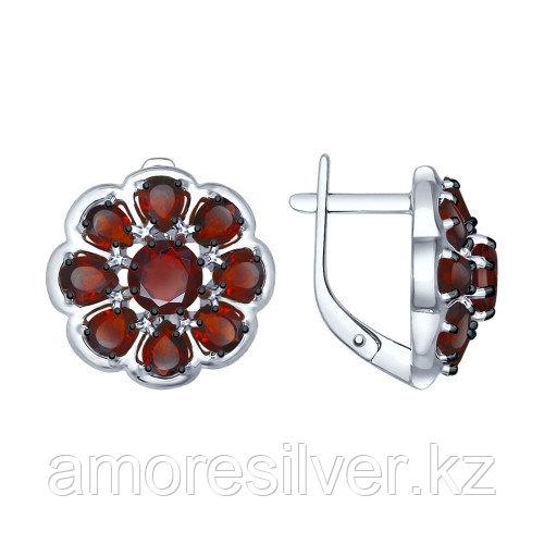 Серьги SOKOLOV серебро с родием, гранат, многокаменка 92021397