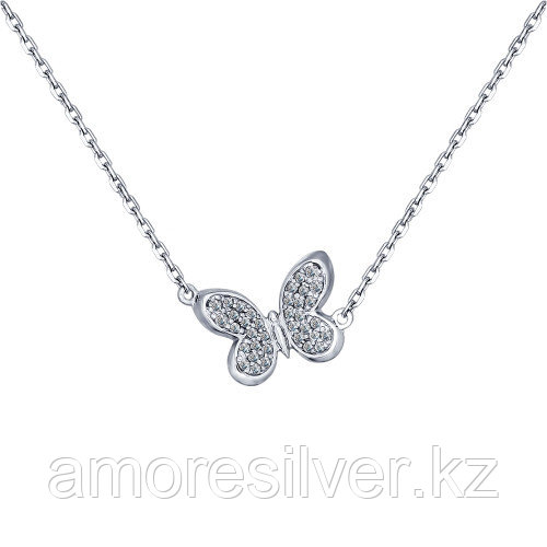 Колье SOKOLOV серебро с родием, фианит, фантазийная, бабочка 94070100