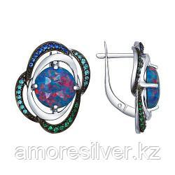 Серьги SOKOLOV серебро с родием, опал фианит 83020042