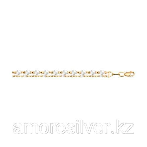 Браслет SOKOLOV серебро с позолотой, жемчуг swarovski синт.  эмаль 93050108