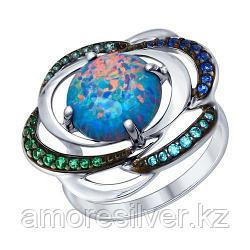 Кольцо SOKOLOV серебро с родием, опал фианит 83010044