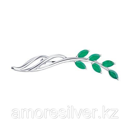 Брошь SOKOLOV серебро с родием, агат зеленый 92040105