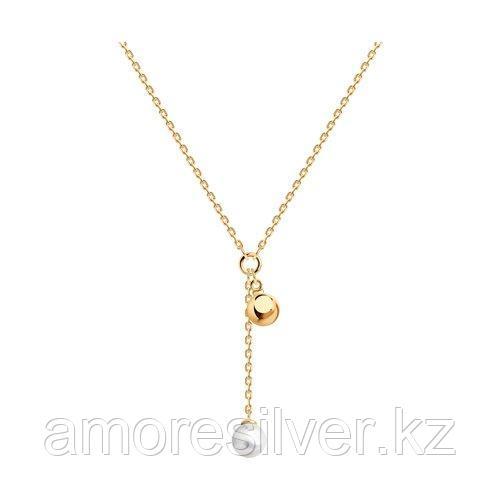 Колье SOKOLOV серебро с позолотой, жемчуг синт. 93070082