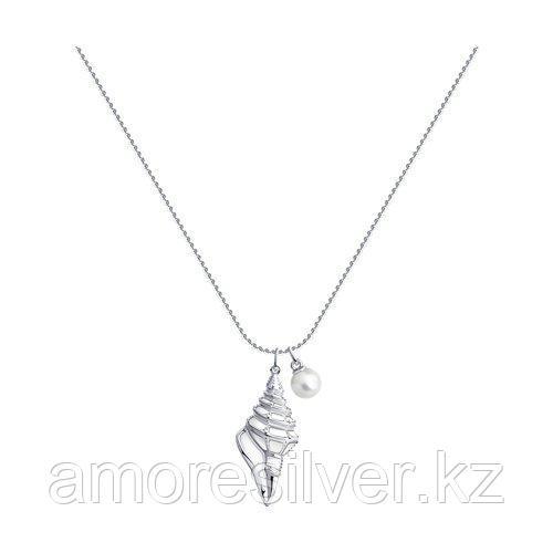 Колье SOKOLOV серебро с родием, эмаль жемчуг синт. 94070407