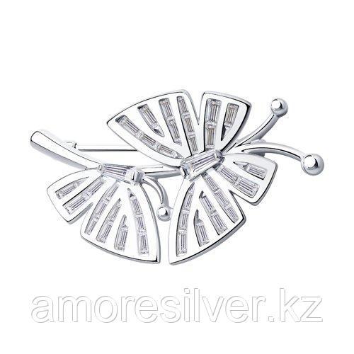 Брошь Diamant (SOKOLOV) серебро с родием, фианит  94-140-00385-1