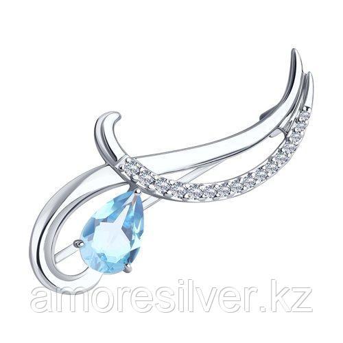 Брошь Diamant (SOKOLOV) серебро с родием, топаз фианит  94-340-01053-1
