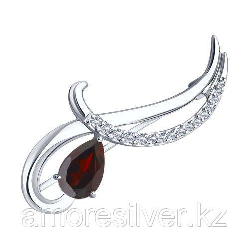 Брошь Diamant (SOKOLOV) серебро с родием, гранат фианит  94-340-01053-2