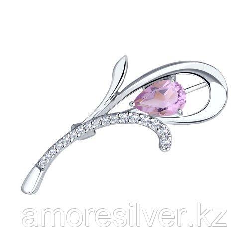 Брошь Diamant (SOKOLOV) серебро с родием, аметист фианит  94-340-01049-2