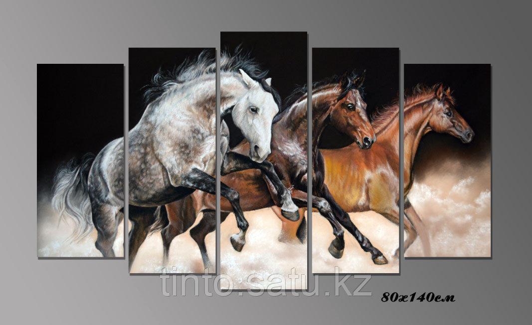 """Модульная картина """"Лошади в стиле живописи"""""""