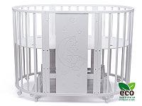 Овальная кровать-трансформер Tomix TEDDY 8 в 1 с маятником белая
