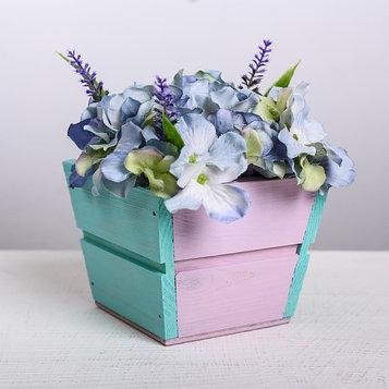 Кашпо флористическое трапеция, фиолетово-бирюзовый, 13 × 13 × 10 см